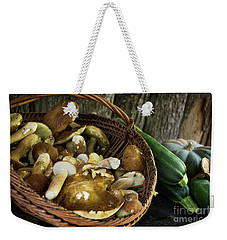 Porcini Mushrooms, Zucchini And A Pumpkin Weekender Tote Bag by IPics Photography