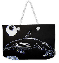Weekender Tote Bag featuring the drawing Porpoise Sillhouette by Mayhem Mediums