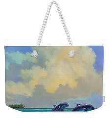 Porpoiseful Play Weekender Tote Bag by David  Van Hulst