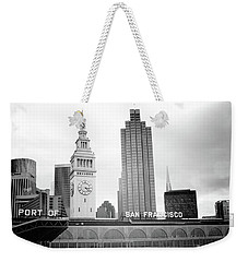 Weekender Tote Bag featuring the mixed media Port Of San Francisco Black And White- Art By Linda Woods by Linda Woods