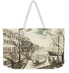 Weekender Tote Bag featuring the painting Port Ripa Grande Paraphrase After Giovanni Piranesi by Martin Stankewitz