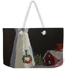 Port Sanilac Lighthouse At Christmas Weekender Tote Bag