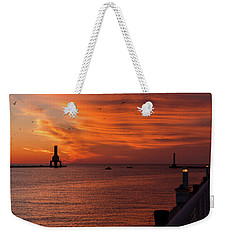 Port Washington Marina Sunrise Weekender Tote Bag