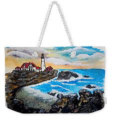 Porthead Lighthouse Maine In Watercolors Weekender Tote Bag