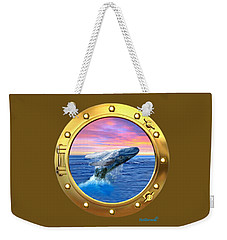Porthole View Of Breaching Whale Weekender Tote Bag