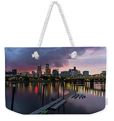 Portland City Skyline Along Willamette River At Dusk Weekender Tote Bag