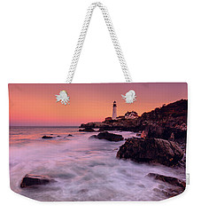 Weekender Tote Bag featuring the photograph Portland Head Light In Pink  by Emmanuel Panagiotakis