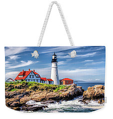 Weekender Tote Bag featuring the painting Portland Head Lighthouse by Christopher Arndt