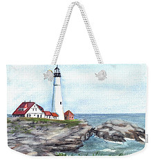 Weekender Tote Bag featuring the painting Portland Head Lighthouse Maine Usa by Carol Wisniewski