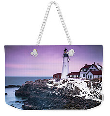 Weekender Tote Bag featuring the photograph Maine Portland Headlight Lighthouse In Winter Snow by Ranjay Mitra