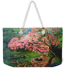 Weekender Tote Bag featuring the painting Portland Japanese Maple by LaVonne Hand