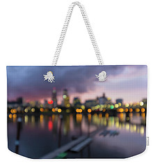 Portland Oregon City Skyline Out Of Focus Bokeh Lights Weekender Tote Bag