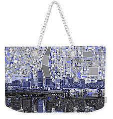 Portland Skyline Abstract Nb Weekender Tote Bag by Bekim Art