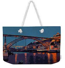 Porto River Douro And Bridge In The Evening Light Weekender Tote Bag