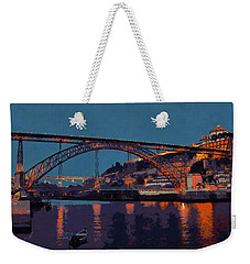 Weekender Tote Bag featuring the photograph Porto River Douro And Bridge In The Evening Light by Menega Sabidussi