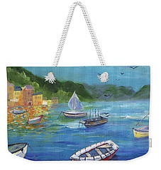 Weekender Tote Bag featuring the painting Portofino, Italy by Jamie Frier