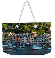 Weekender Tote Bag featuring the photograph Portofino Morning Panoramic II by Brian Jannsen