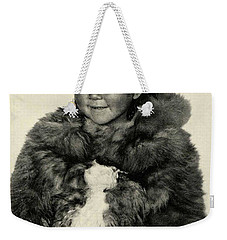 Weekender Tote Bag featuring the painting Portrait Girl Child Smith Sound Eskimo Tribe North Greenlan by Artistic Panda