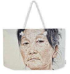 Portrait Of A Chinese Woman With A Mole On Her Chin Weekender Tote Bag by Jim Fitzpatrick