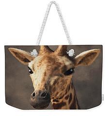 Weekender Tote Bag featuring the digital art Portrait Of A Giraffe  by Daniel Eskridge