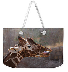 Weekender Tote Bag featuring the digital art Portrait Of A Giraffe by Ernie Echols