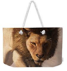 Portrait Of A Lion Weekender Tote Bag by Daniel Eskridge