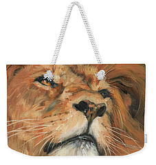 Weekender Tote Bag featuring the painting Portrait Of A Lion by David Stribbling