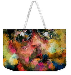 Portrait Of A Man In Sunglass Smoking A Cigar In The Sunshine Wearing A Hat And Riding A Motorcycle In Pink Green Yellow Black Blue Oil Paint With Raking Light To Pick Up Paint Texture Weekender Tote Bag