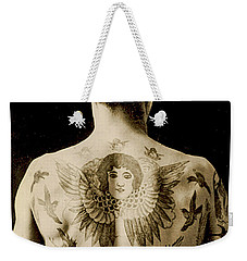Portrait Of A Man With An Elaborate Back Piece Tattoo Weekender Tote Bag