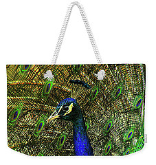 Weekender Tote Bag featuring the photograph Portrait Of A Peacock by Jessica Brawley