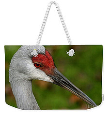 Portrait Of A Sandhill Crane Weekender Tote Bag by Myrna Bradshaw