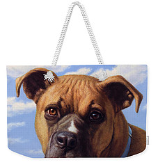 Weekender Tote Bag featuring the painting Portrait Of A Sweet Boxer by James W Johnson