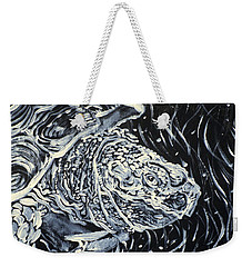 Weekender Tote Bag featuring the painting Portrait Of A Turtle by Fabrizio Cassetta