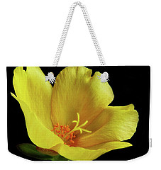 Weekender Tote Bag featuring the photograph Portrait Of A Yellow Purslane Flower by David and Carol Kelly