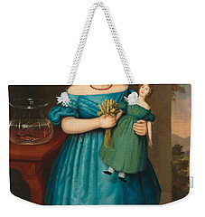 Portrait Of Amy Philpot In A Blue Dress With Doll And Goldfish Weekender Tote Bag