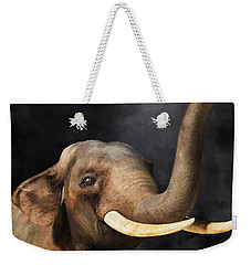 Weekender Tote Bag featuring the digital art Portrait Of An Elephant by Daniel Eskridge