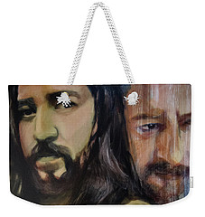 Weekender Tote Bag featuring the painting Portrait Of Cristo Soto by Ron Richard Baviello