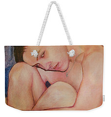 Weekender Tote Bag featuring the painting Portrait Of Dustin Roadcap 2016 by Ron Richard Baviello