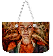 Portrait Of Female With Hair Billowing Everywhere In Radiant Unsmiling Sharp Features Golden Warm Colors And Upturned Nose Curls And Aliens Of The Departure Weekender Tote Bag