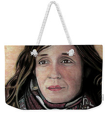 Weekender Tote Bag featuring the pastel Portrait Of Katy Desmond, C. 2017 by Denny Morreale