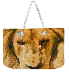 Weekender Tote Bag featuring the photograph Portrait Of Lion by Scott Carruthers