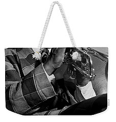 Weekender Tote Bag featuring the painting Portrait Of Louis Armstrong by Artistic Panda