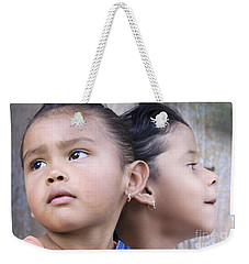 Weekender Tote Bag featuring the photograph Portrait Of Two Panama Girls by Heiko Koehrer-Wagner
