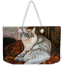 Weekender Tote Bag featuring the painting Portrait Of Vera by Ron Richard Baviello