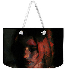 Portrait Painting Of Girl In Red Gray Black With Wistful Thoughts Of Fleeting Memories Weekender Tote Bag