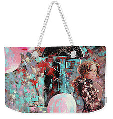 Weekender Tote Bag featuring the painting Portrait. Pink Dreams by Anastasija Kraineva
