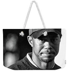 Portrait  Tiger Woods Black White  Weekender Tote Bag