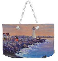 Portsmouth Lighthouse Sunset Peaceful  Coastal Painting Weekender Tote Bag