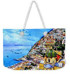 Weekender Tote Bag featuring the painting Positano by Hanne Lore Koehler