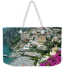 Weekender Tote Bag featuring the photograph Positano's Beach by Donna Corless